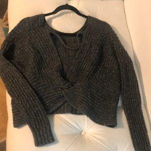 Anthropologie Ruby Moon Grey open Back Sweater.